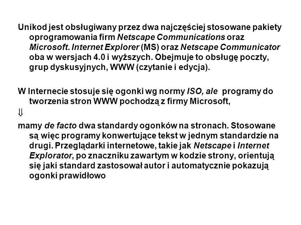Unikod jest obsługiwany przez dwa najczęściej stosowane pakiety oprogramowania firm Netscape Communications oraz Microsoft. Internet Explorer (MS) ora