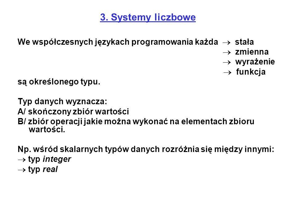 3. Systemy liczbowe We współczesnych językach programowania każda  stała  zmienna  wyrażenie  funkcja są określonego typu. Typ danych wyznacza: A/