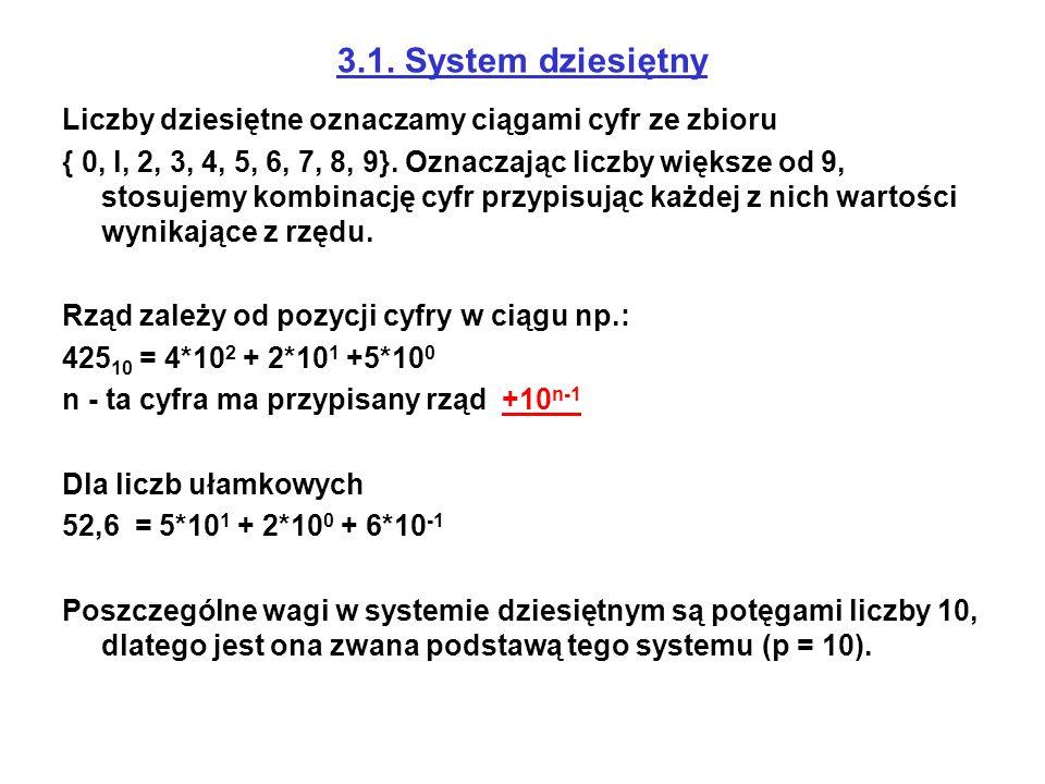 3.1. System dziesiętny Liczby dziesiętne oznaczamy ciągami cyfr ze zbioru { 0, l, 2, 3, 4, 5, 6, 7, 8, 9}. Oznaczając liczby większe od 9, stosujemy k