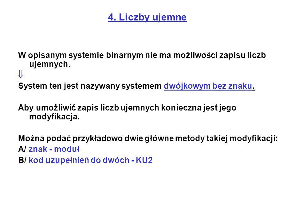 4. Liczby ujemne W opisanym systemie binarnym nie ma możliwości zapisu liczb ujemnych.  System ten jest nazywany systemem dwójkowym bez znaku. Aby um