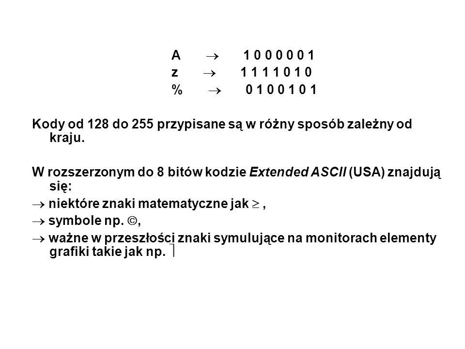 A  1 0 0 0 0 0 1 z  1 1 1 1 0 1 0 %  0 1 0 0 1 0 1 Kody od 128 do 255 przypisane są w różny sposób zależny od kraju. W rozszerzonym do 8 bitów kodz