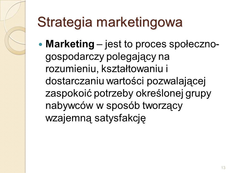 13 Strategia marketingowa Marketing – jest to proces społeczno- gospodarczy polegający na rozumieniu, kształtowaniu i dostarczaniu wartości pozwalając