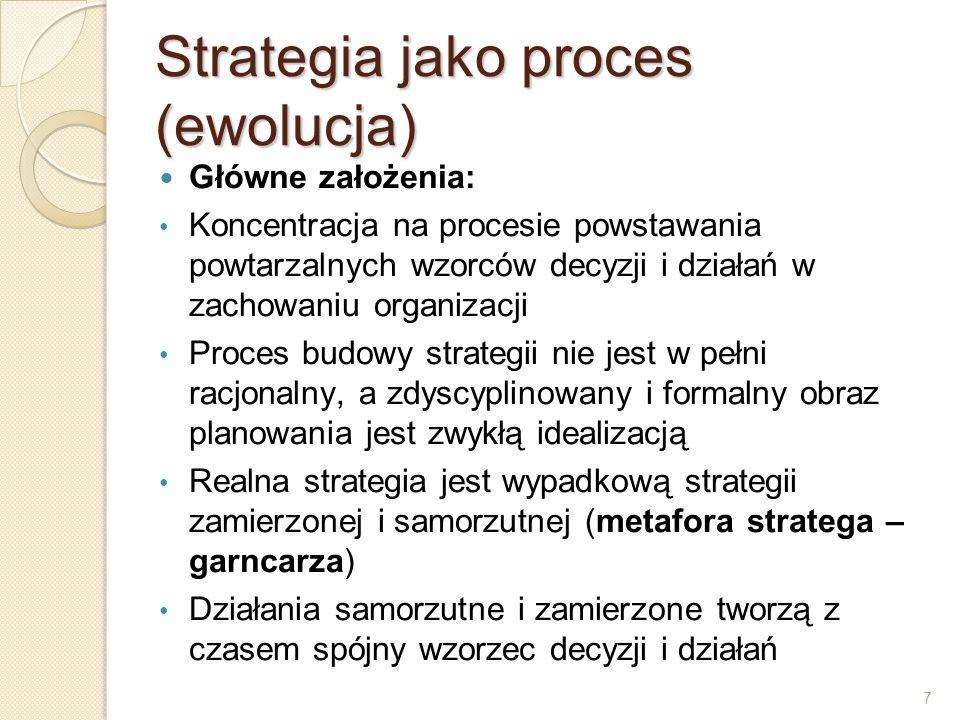 7 Strategia jako proces (ewolucja) Główne założenia: Koncentracja na procesie powstawania powtarzalnych wzorców decyzji i działań w zachowaniu organiz