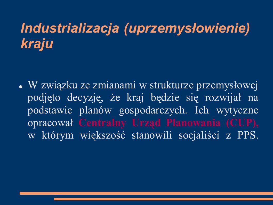 Industrializacja (uprzemysłowienie) kraju W związku ze zmianami w strukturze przemysłowej podjęto decyzję, że kraj będzie się rozwijał na podstawie pl