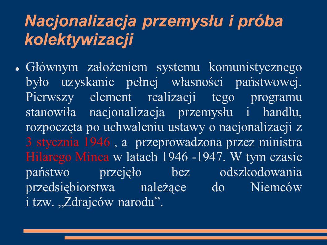 Nacjonalizacja przemysłu i próba kolektywizacji Głównym założeniem systemu komunistycznego było uzyskanie pełnej własności państwowej. Pierwszy elemen