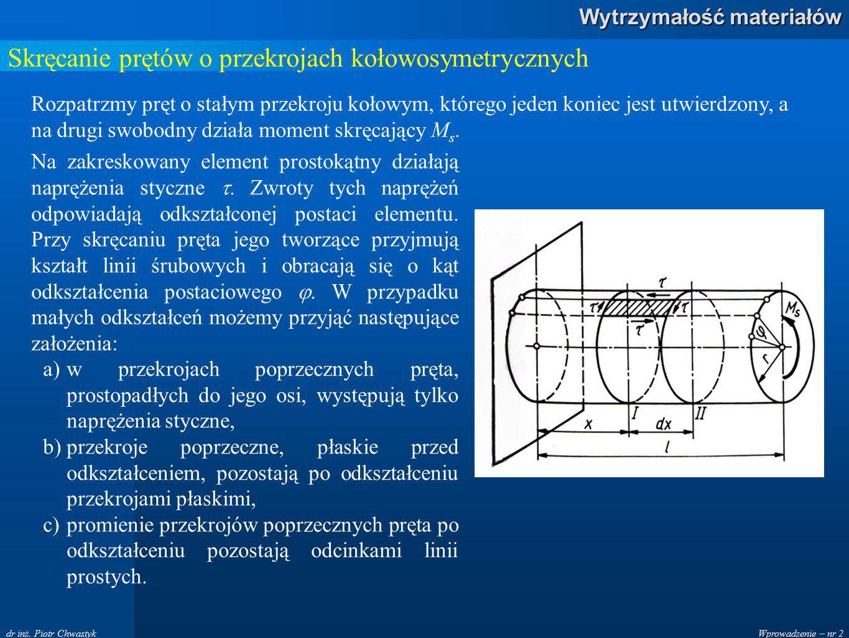 Wprowadzenie – nr 2 Wytrzymałość materiałów dr inż. Piotr Chwastyk Skręcanie prętów o przekrojach kołowosymetrycznych Rozpatrzmy pręt o stałym przekro