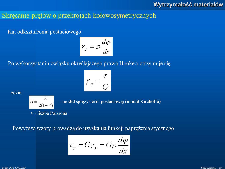 Wprowadzenie – nr 4 Wytrzymałość materiałów dr inż. Piotr Chwastyk Skręcanie prętów o przekrojach kołowosymetrycznych Kąt odkształcenia postaciowego P