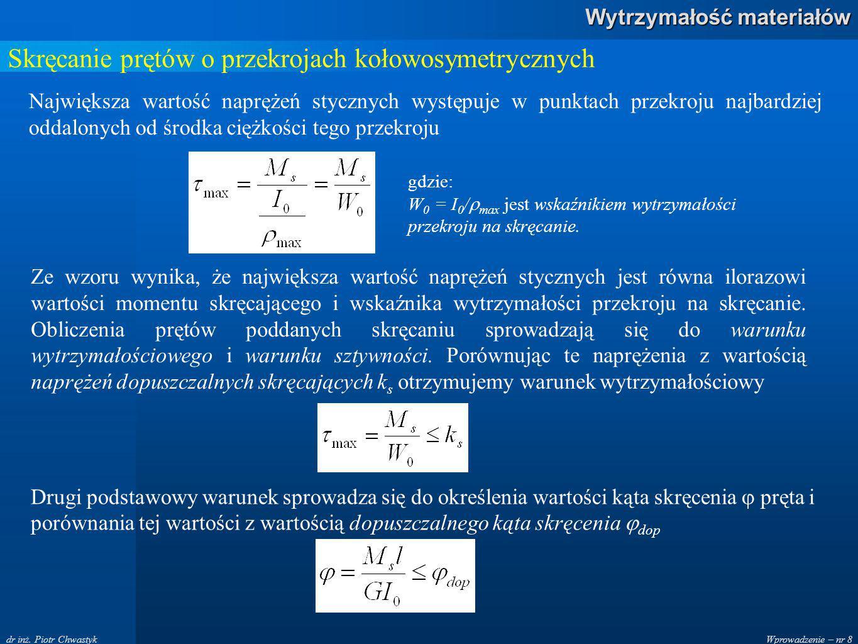 Wprowadzenie – nr 8 Wytrzymałość materiałów dr inż. Piotr Chwastyk Skręcanie prętów o przekrojach kołowosymetrycznych Największa wartość naprężeń styc