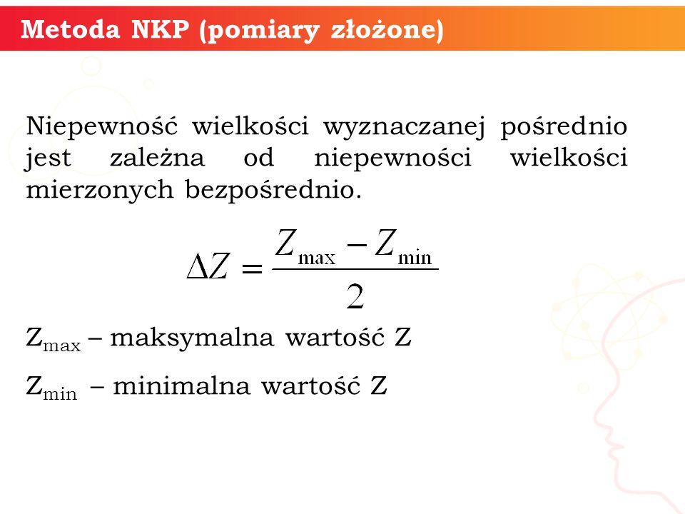 Metoda NKP (pomiary złożone) Niepewność wielkości wyznaczanej pośrednio jest zależna od niepewności wielkości mierzonych bezpośrednio. Z max – maksyma