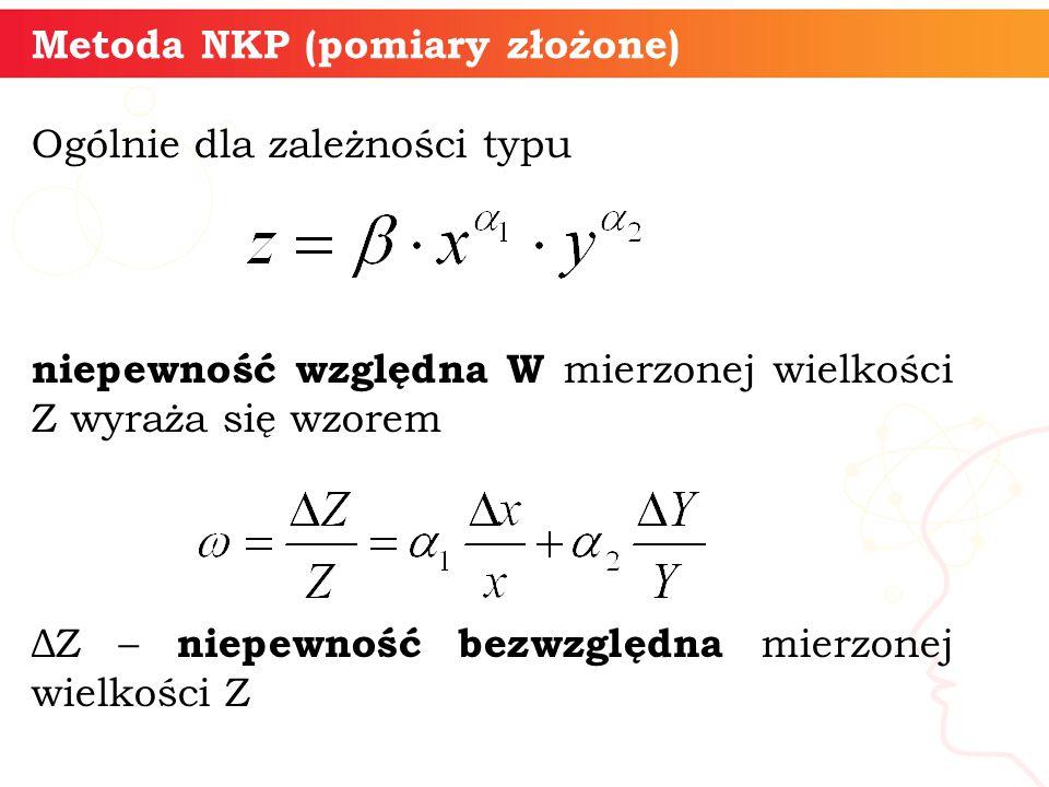 Metoda NKP (pomiary złożone) Ogólnie dla zależności typu niepewność względna W mierzonej wielkości Z wyraża się wzorem ΔZ – niepewność bezwzględna mie