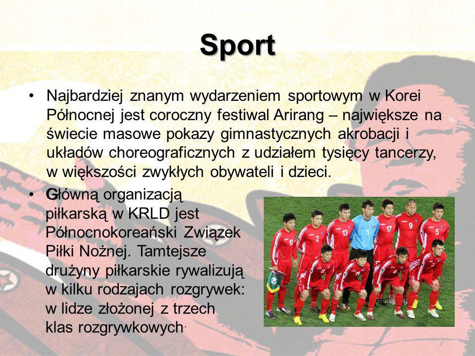 Sport Najbardziej znanym wydarzeniem sportowym w Korei Północnej jest coroczny festiwal Arirang – największe na świecie masowe pokazy gimnastycznych a