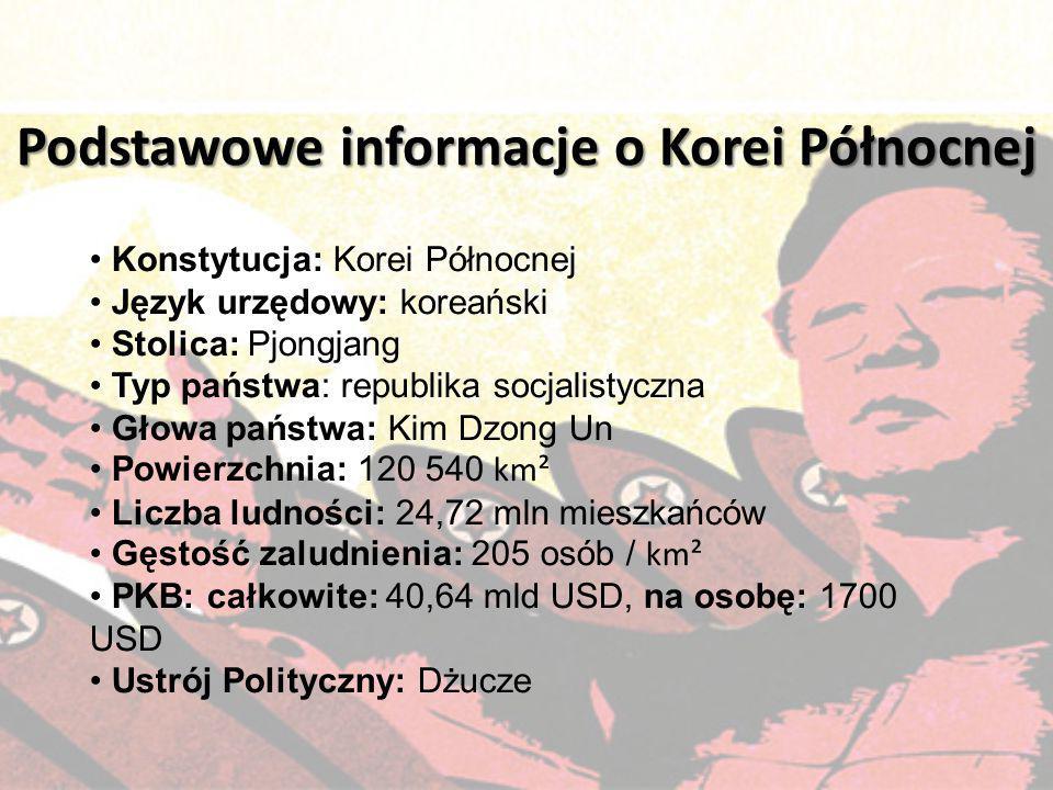 Konstytucja: Korei Północnej Język urzędowy: koreański Stolica: Pjongjang Typ państwa: republika socjalistyczna Głowa państwa: Kim Dzong Un Powierzchn
