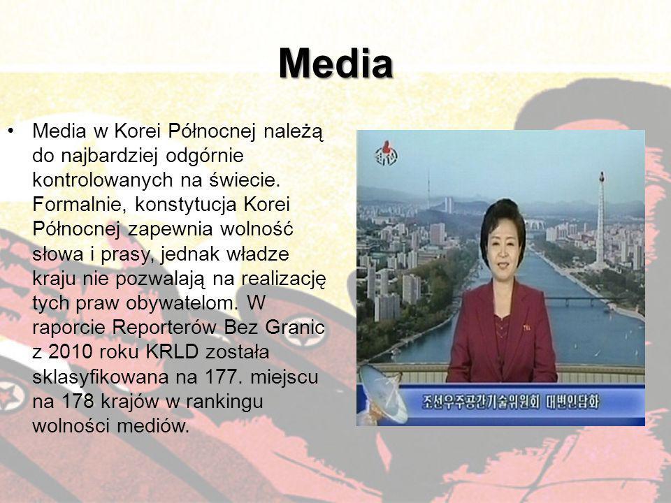 Media Media w Korei Północnej należą do najbardziej odgórnie kontrolowanych na świecie. Formalnie, konstytucja Korei Północnej zapewnia wolność słowa