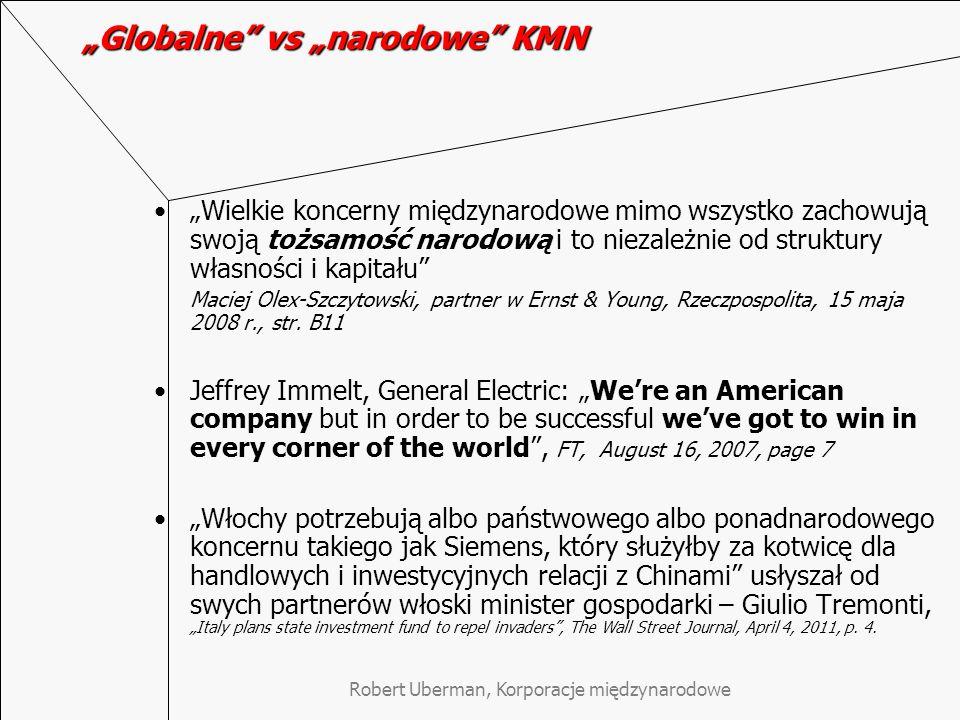 """Robert Uberman, Korporacje międzynarodowe """"Globalne vs """"narodowe KMN Korporacje międzynarodowe biorą pod uwagę czynniki kulturowe w procesach przejęć."""