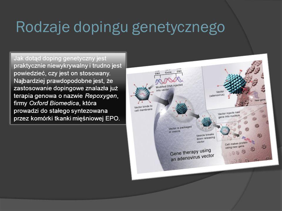 Rodzaje dopingu genetycznego Obecnie zainteresowanie sportowców, ze względu na potencjalne możliwości zwiększenia osiągnięć poprzez doping genowy, odnosi się do  Erytropoetyny (EPO)  Insulinopodobnego czynnika wzrostu  Miostatyny  Endorfiny  Czynnika wzrostu śródbłonka naczyń