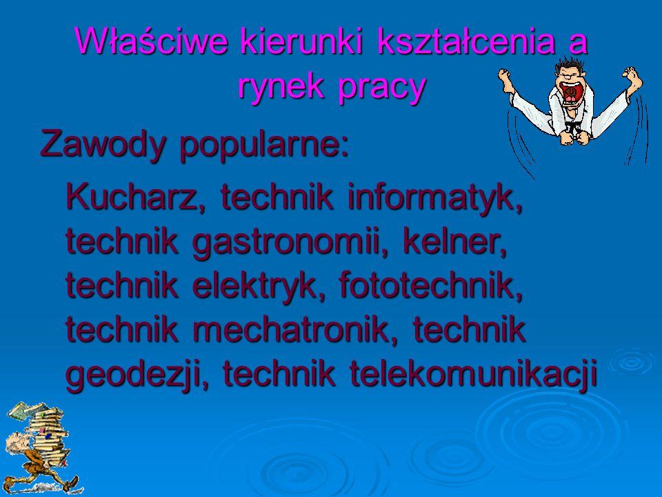 Właściwe kierunki kształcenia a rynek pracy Zawody popularne: Kucharz, technik informatyk, technik gastronomii, kelner, technik elektryk, fototechnik, technik mechatronik, technik geodezji, technik telekomunikacji