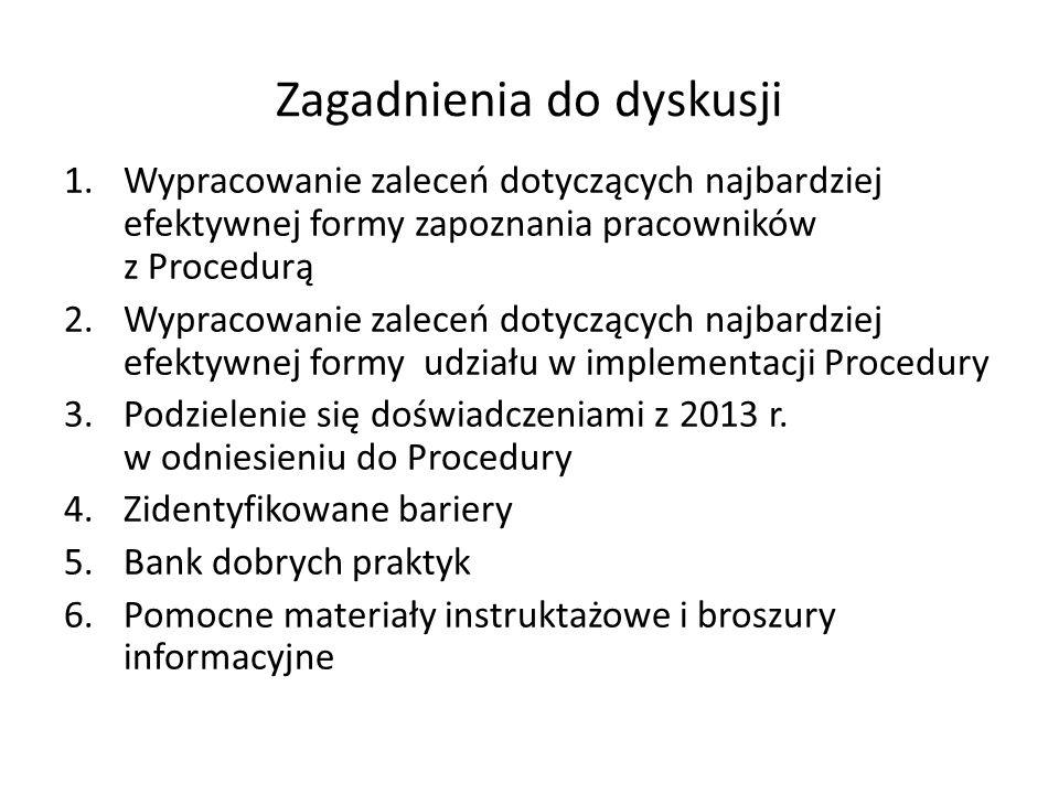 Zagadnienia do dyskusji 1.Wypracowanie zaleceń dotyczących najbardziej efektywnej formy zapoznania pracowników z Procedurą 2.Wypracowanie zaleceń dotyczących najbardziej efektywnej formy udziału w implementacji Procedury 3.Podzielenie się doświadczeniami z 2013 r.