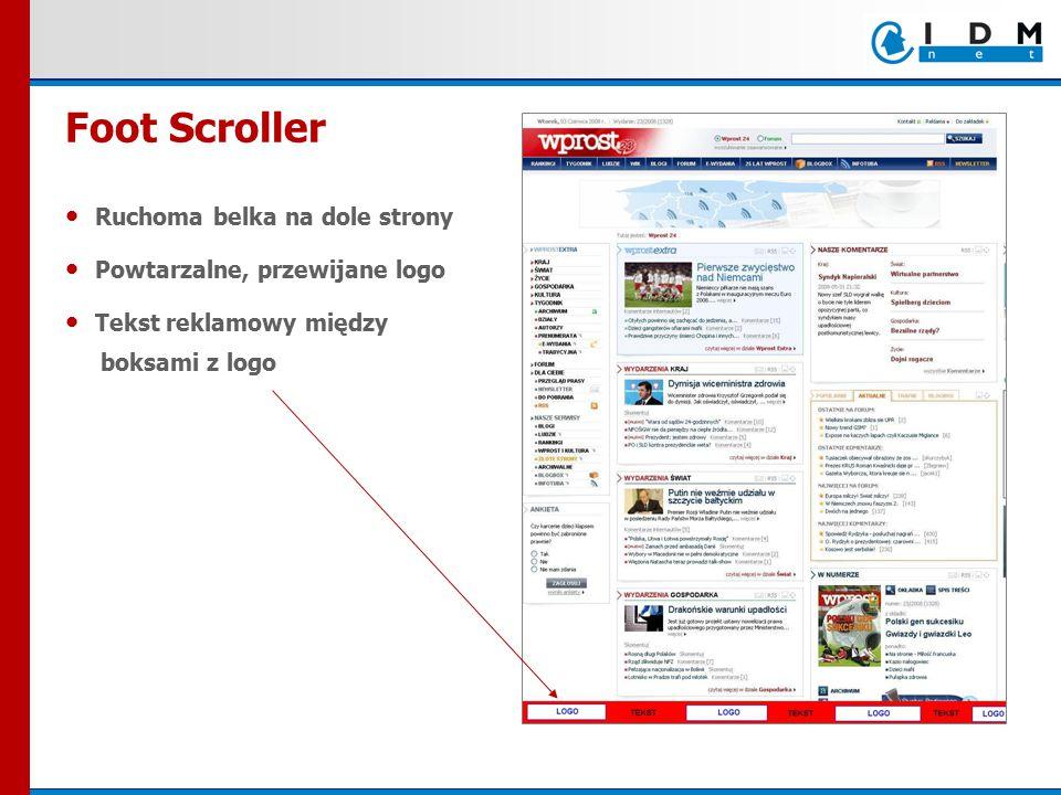 Ruchoma belka na dole strony Powtarzalne, przewijane logo Tekst reklamowy między boksami z logo Foot Scroller
