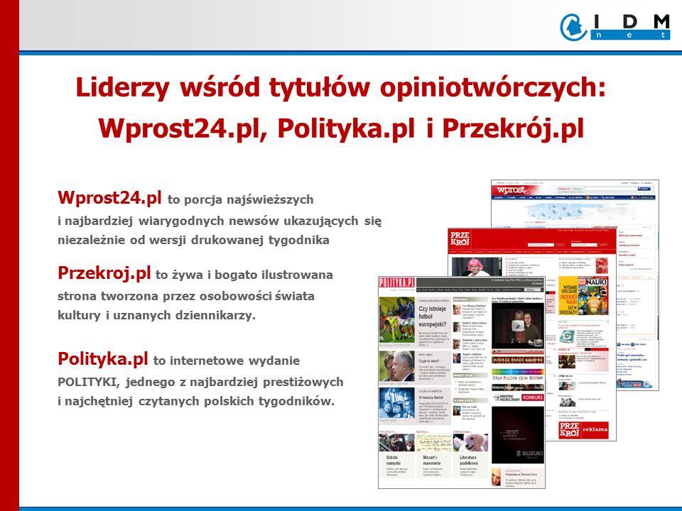 Wprost24.pl to porcja najświeższych i najbardziej wiarygodnych newsów ukazujących się niezależnie od wersji drukowanej tygodnika Przekroj.pl to żywa i bogato ilustrowana strona tworzona przez osobowości świata kultury i uznanych dziennikarzy.