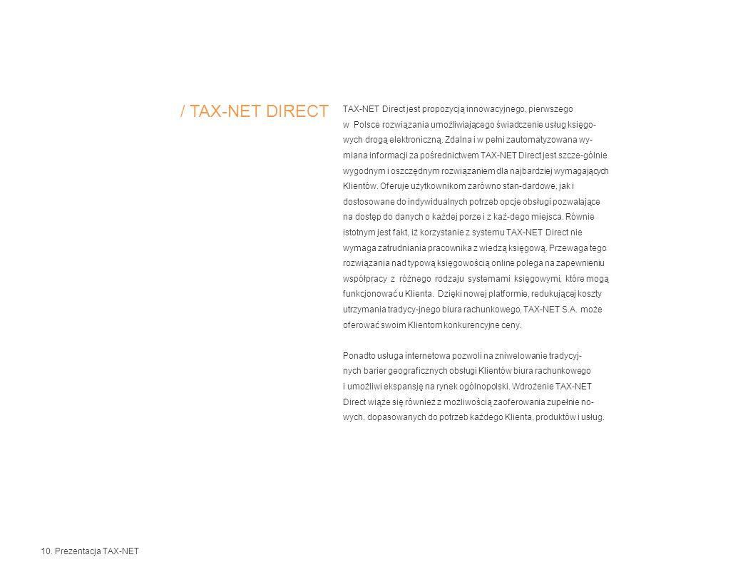TAX-NET Direct jest propozycją innowacyjnego, pierwszego w Polsce rozwiązania umożliwiającego świadczenie usług księgo- wych drogą elektroniczną.