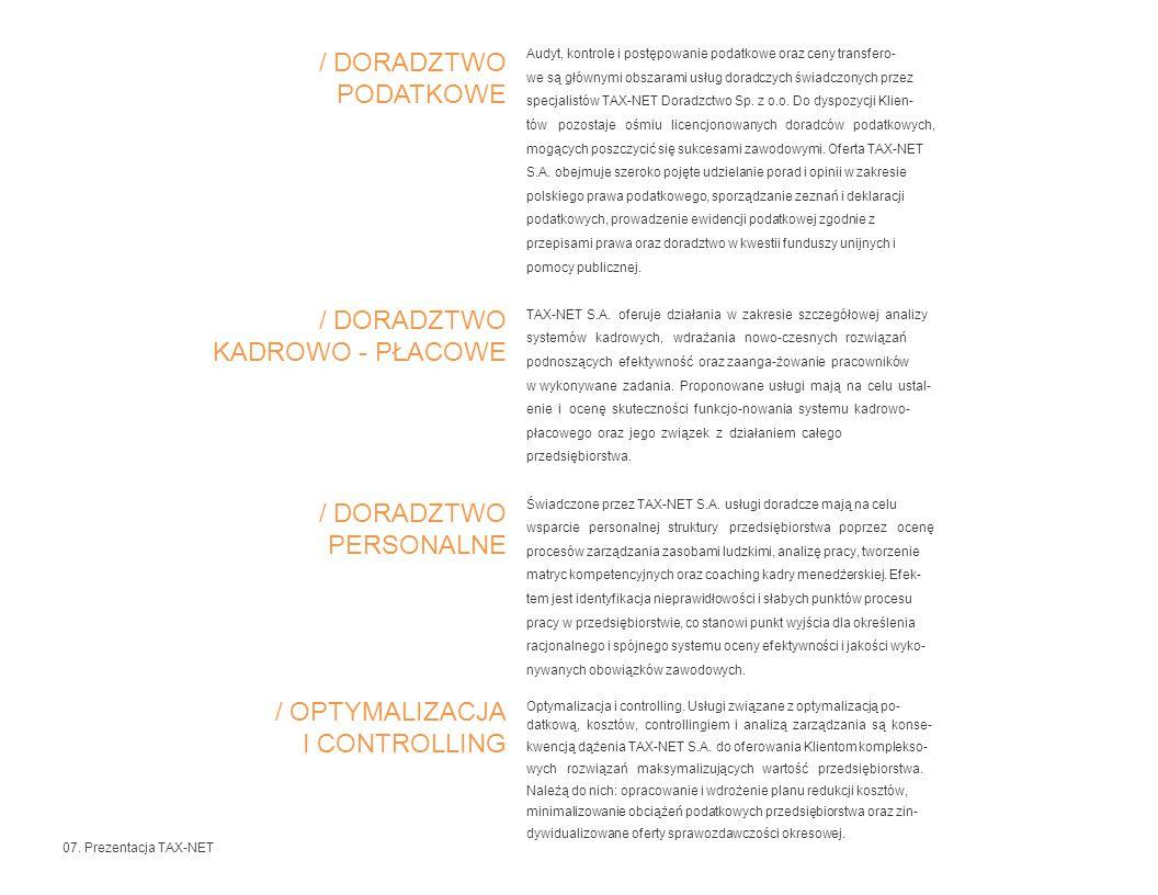 / OPTYMALIZACJA I CONTROLLING Szkolenia.TAX-NET S.A.