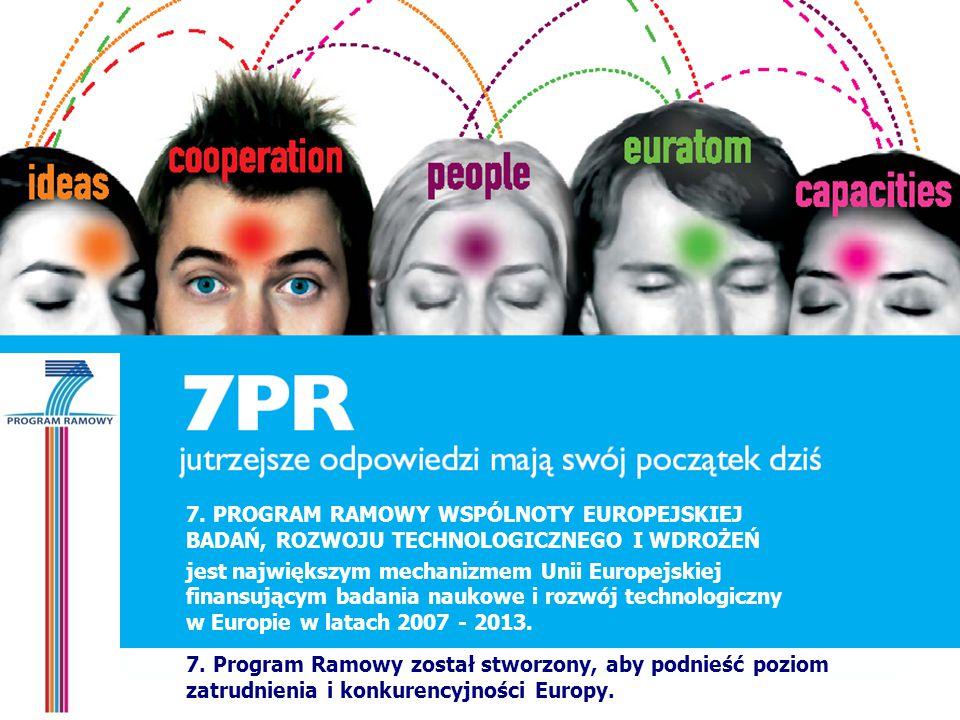 7. PROGRAM RAMOWY WSPÓLNOTY EUROPEJSKIEJ BADAŃ, ROZWOJU TECHNOLOGICZNEGO I WDROŻEŃ jest największym mechanizmem Unii Europejskiej finansującym badania