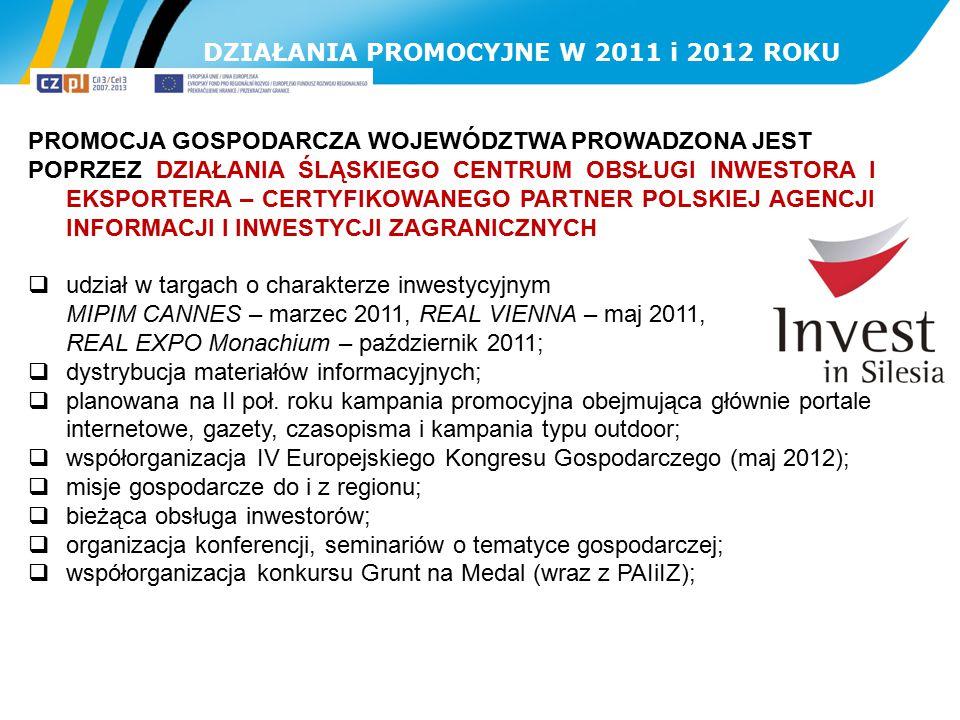 DZIAŁANIA PROMOCYJNE W 2011 i 2012 ROKU PROMOCJA GOSPODARCZA WOJEWÓDZTWA PROWADZONA JEST POPRZEZ DZIAŁANIA ŚLĄSKIEGO CENTRUM OBSŁUGI INWESTORA I EKSPO