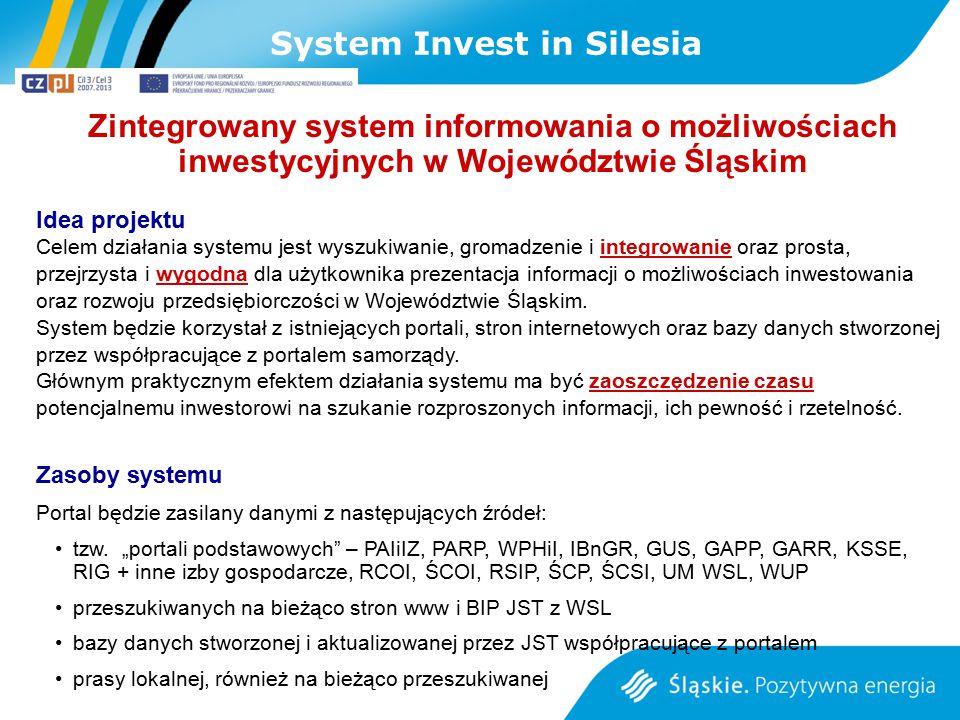 Zintegrowany system informowania o możliwościach inwestycyjnych w Województwie Śląskim Idea projektu Celem działania systemu jest wyszukiwanie, gromad