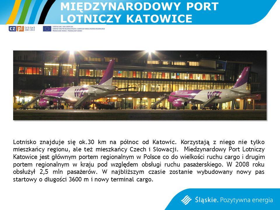 MIĘDZYNARODOWY PORT LOTNICZY KATOWICE Lotnisko znajduje się ok.30 km na północ od Katowic. Korzystają z niego nie tylko mieszkańcy regionu, ale też mi