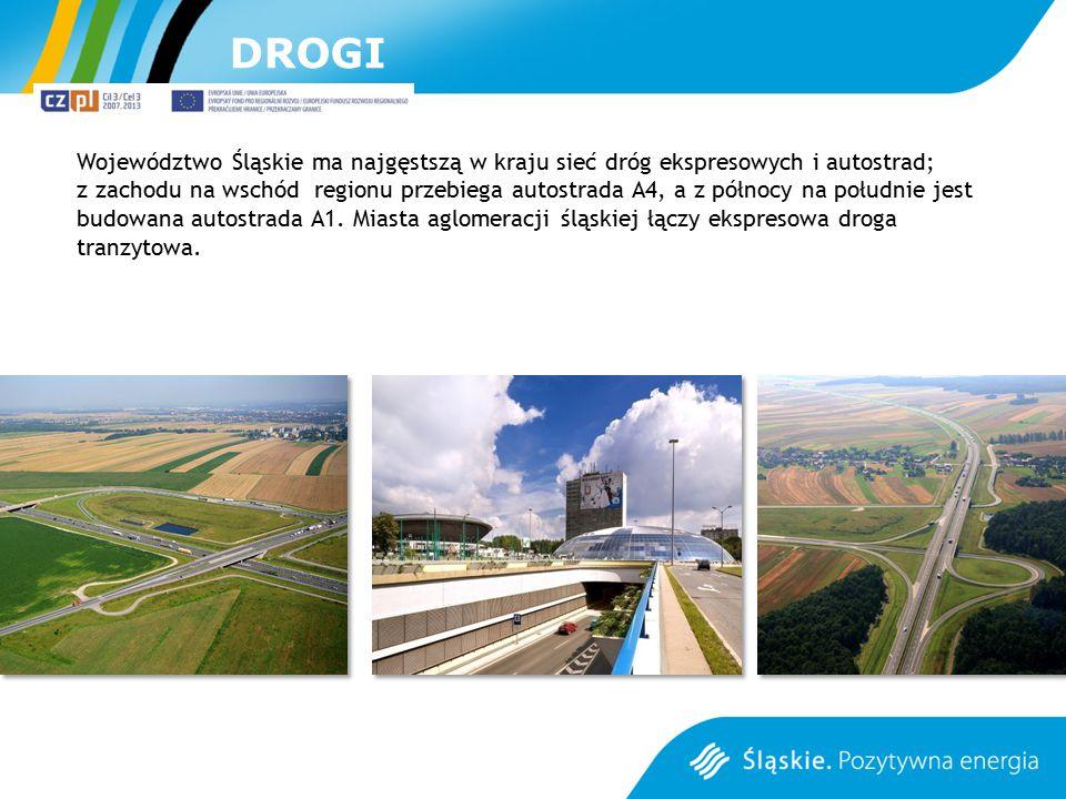 DROGI Województwo Śląskie ma najgęstszą w kraju sieć dróg ekspresowych i autostrad; z zachodu na wschód regionu przebiega autostrada A4, a z północy n