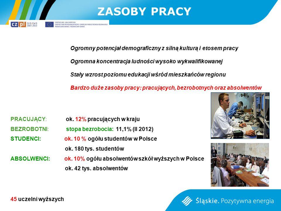 PRACUJĄCY: ok. 12% pracujących w kraju BEZROBOTNI: stopa bezrobocia: 11,1% (II 2012) STUDENCI: ok. 10 % ogółu studentów w Polsce ok. 180 tys. studentó