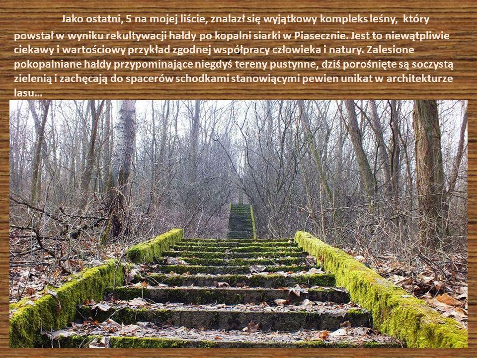Betonowe schody powstały w latach 60 –tych ubiegłego stulecia i prowadzą na wzgórze, z którego przybywający na teren kopalni siarki włodarze mogli podziwiać rozmach działalności kopalni.