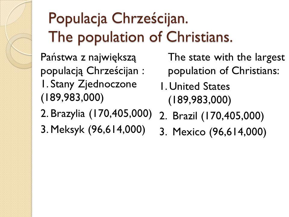 Populacja Chrześcijan. The population of Christians. Państwa z największą populacją Chrześcijan : 1. Stany Zjednoczone (189,983,000) 2. Brazylia (170,