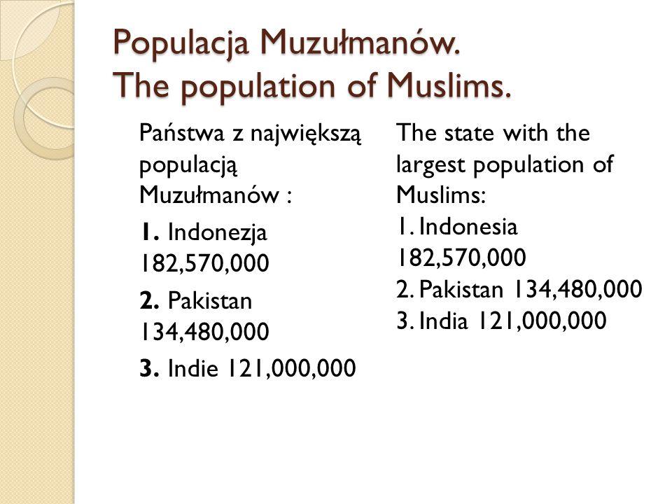 Populacja Muzułmanów. The population of Muslims. Państwa z największą populacją Muzułmanów : 1. Indonezja 182,570,000 2. Pakistan 134,480,000 3. Indie