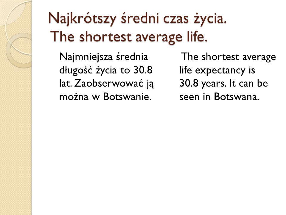 Najkrótszy średni czas życia. The shortest average life. Najmniejsza średnia długość życia to 30.8 lat. Zaobserwować ją można w Botswanie. The shortes