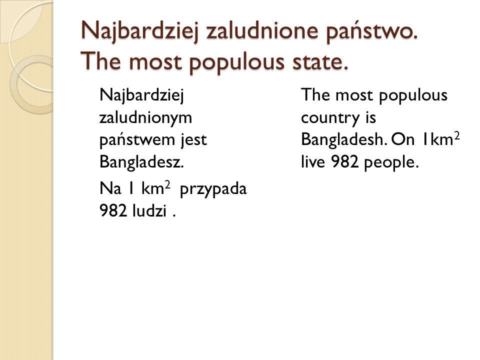 Najbardziej zaludnione państwo. The most populous state. Najbardziej zaludnionym państwem jest Bangladesz. Na 1 km 2 przypada 982 ludzi. The most popu