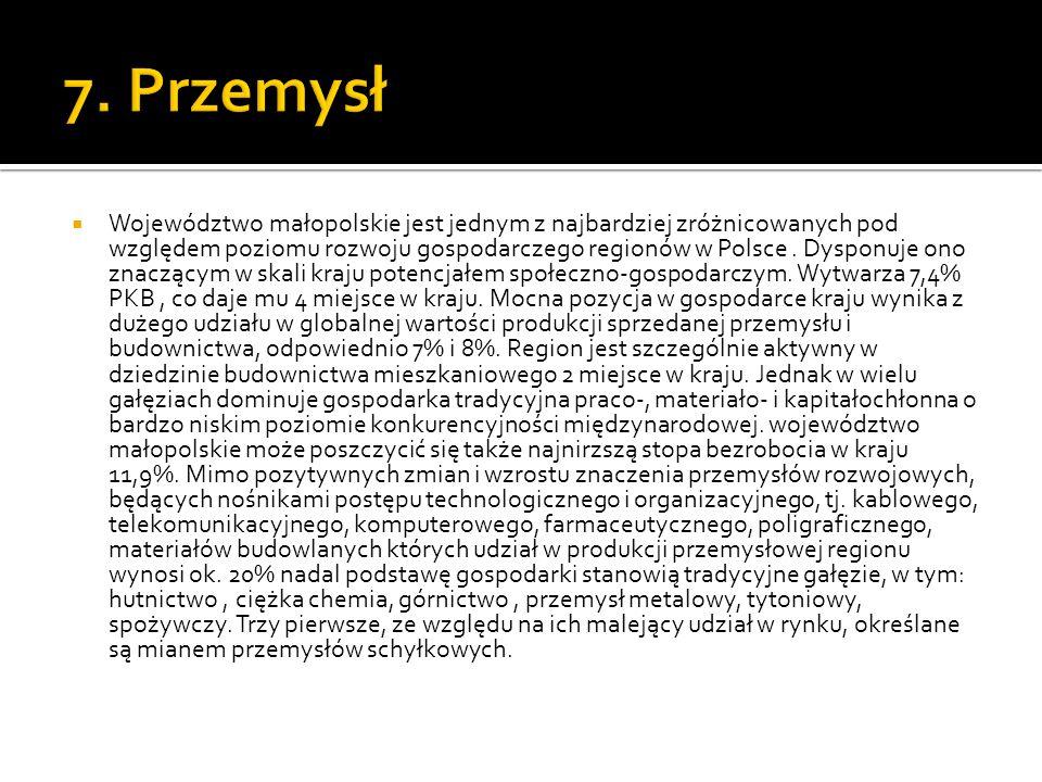  Województwo małopolskie jest jednym z najbardziej zróżnicowanych pod względem poziomu rozwoju gospodarczego regionów w Polsce. Dysponuje ono znacząc