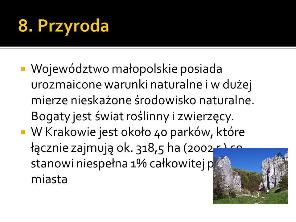  Województwo małopolskie posiada urozmaicone warunki naturalne i w dużej mierze nieskażone środowisko naturalne. Bogaty jest świat roślinny i zwierzę