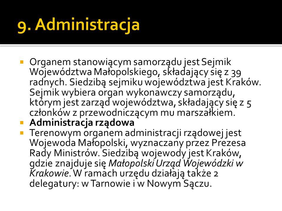  Organem stanowiącym samorządu jest Sejmik Województwa Małopolskiego, składający się z 39 radnych. Siedzibą sejmiku województwa jest Kraków. Sejmik w