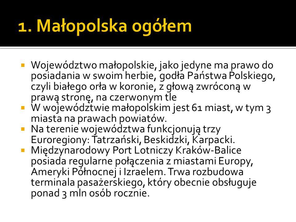  Województwo małopolskie, jako jedyne ma prawo do posiadania w swoim herbie, godła Państwa Polskiego, czyli białego orła w koronie, z głową zwróconą