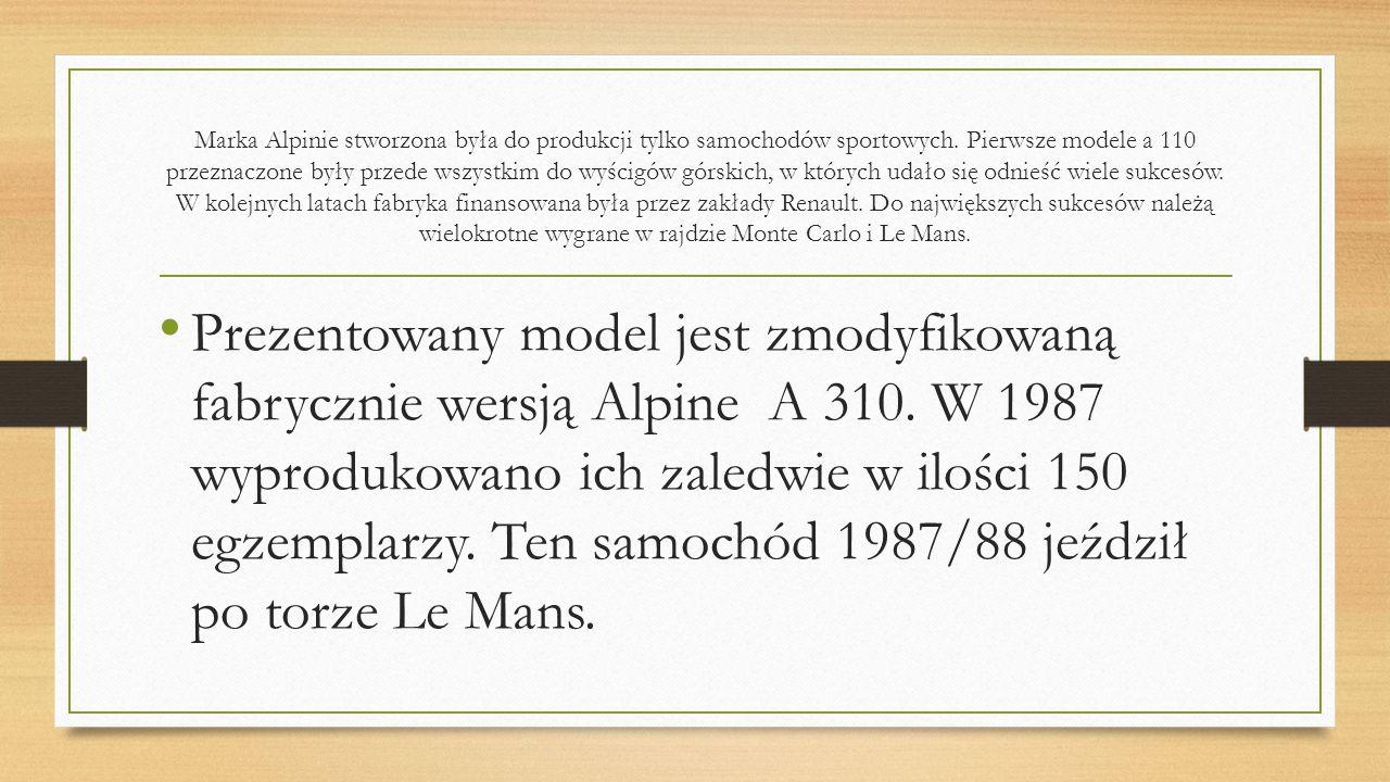 Marka Alpinie stworzona była do produkcji tylko samochodów sportowych. Pierwsze modele a 110 przeznaczone były przede wszystkim do wyścigów górskich,