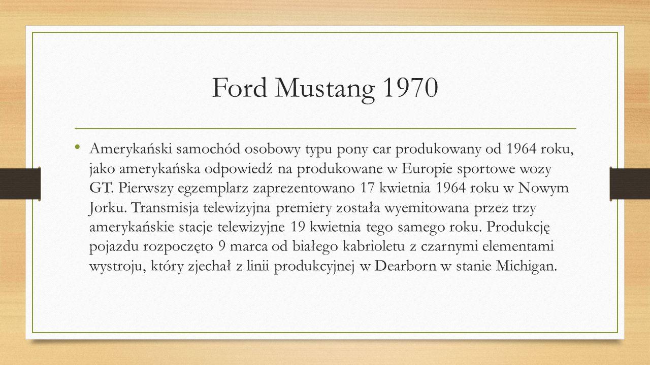 Amerykański samochód osobowy typu pony car produkowany od 1964 roku, jako amerykańska odpowiedź na produkowane w Europie sportowe wozy GT. Pierwszy eg