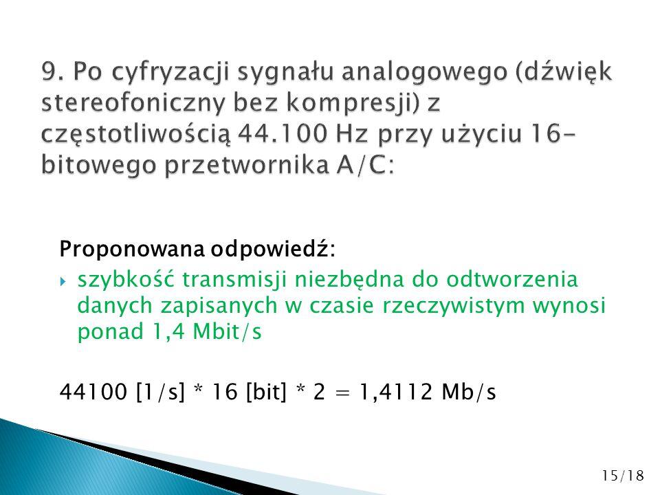 Proponowana odpowiedź:  szybkość transmisji niezbędna do odtworzenia danych zapisanych w czasie rzeczywistym wynosi ponad 1,4 Mbit/s 44100 [1/s] * 16