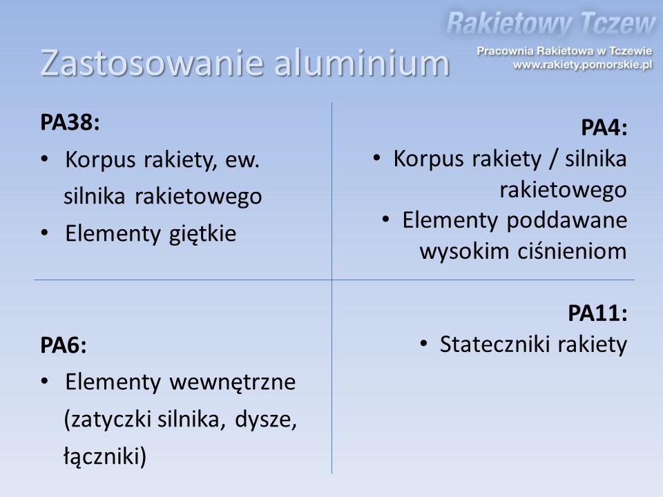 Zastosowanie aluminium PA38: Korpus rakiety, ew. silnika rakietowego Elementy giętkie PA6: Elementy wewnętrzne (zatyczki silnika, dysze, łączniki) PA4