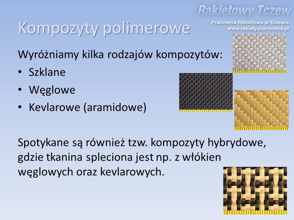 Kompozyty polimerowe Wyróżniamy kilka rodzajów kompozytów: Szklane Węglowe Kevlarowe (aramidowe) Spotykane są również tzw. kompozyty hybrydowe, gdzie