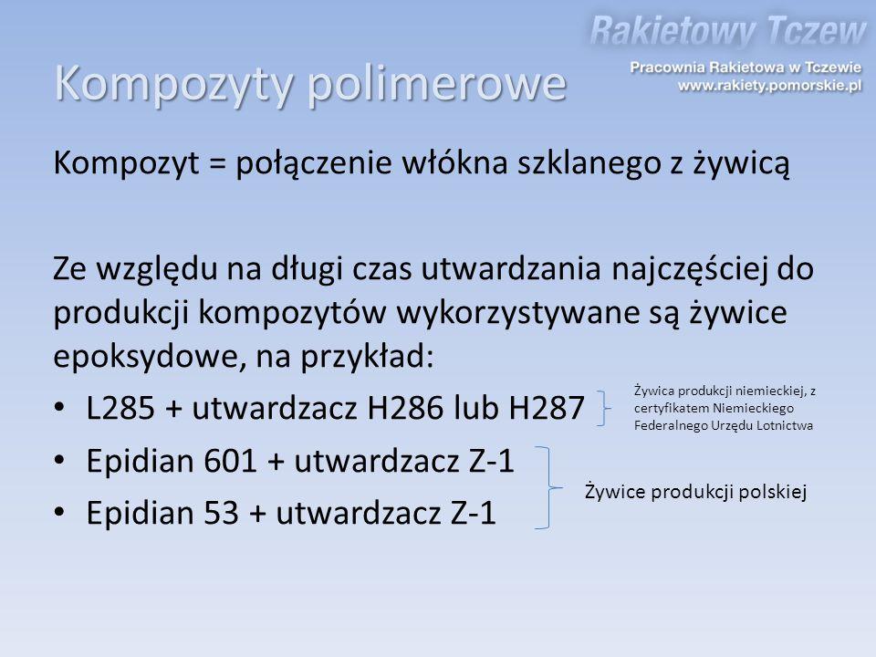 Kompozyty polimerowe Kompozyt = połączenie włókna szklanego z żywicą Ze względu na długi czas utwardzania najczęściej do produkcji kompozytów wykorzys