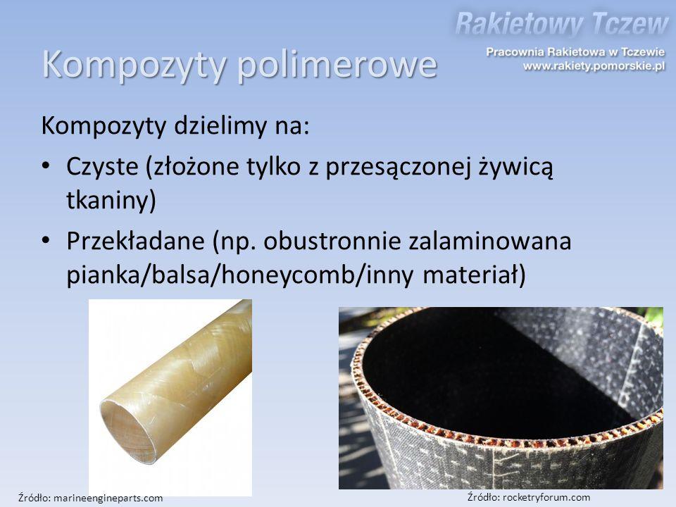 Kompozyty dzielimy na: Czyste (złożone tylko z przesączonej żywicą tkaniny) Przekładane (np. obustronnie zalaminowana pianka/balsa/honeycomb/inny mate