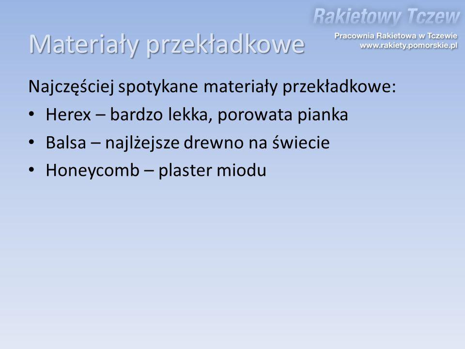 Materiały przekładkowe Najczęściej spotykane materiały przekładkowe: Herex – bardzo lekka, porowata pianka Balsa – najlżejsze drewno na świecie Honeyc