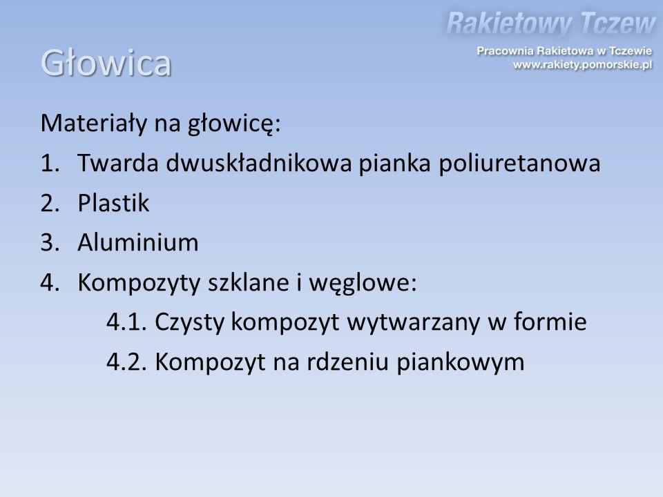 Głowica Materiały na głowicę: 1.Twarda dwuskładnikowa pianka poliuretanowa 2.Plastik 3.Aluminium 4.Kompozyty szklane i węglowe: 4.1. Czysty kompozyt w