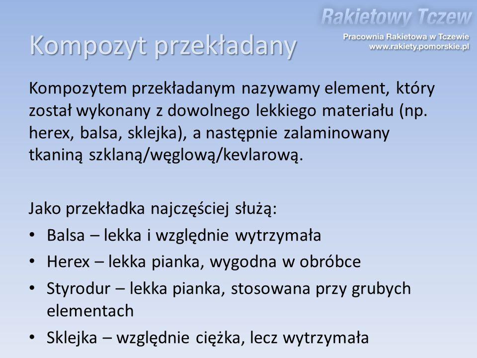 Kompozyt przekładany Kompozytem przekładanym nazywamy element, który został wykonany z dowolnego lekkiego materiału (np. herex, balsa, sklejka), a nas
